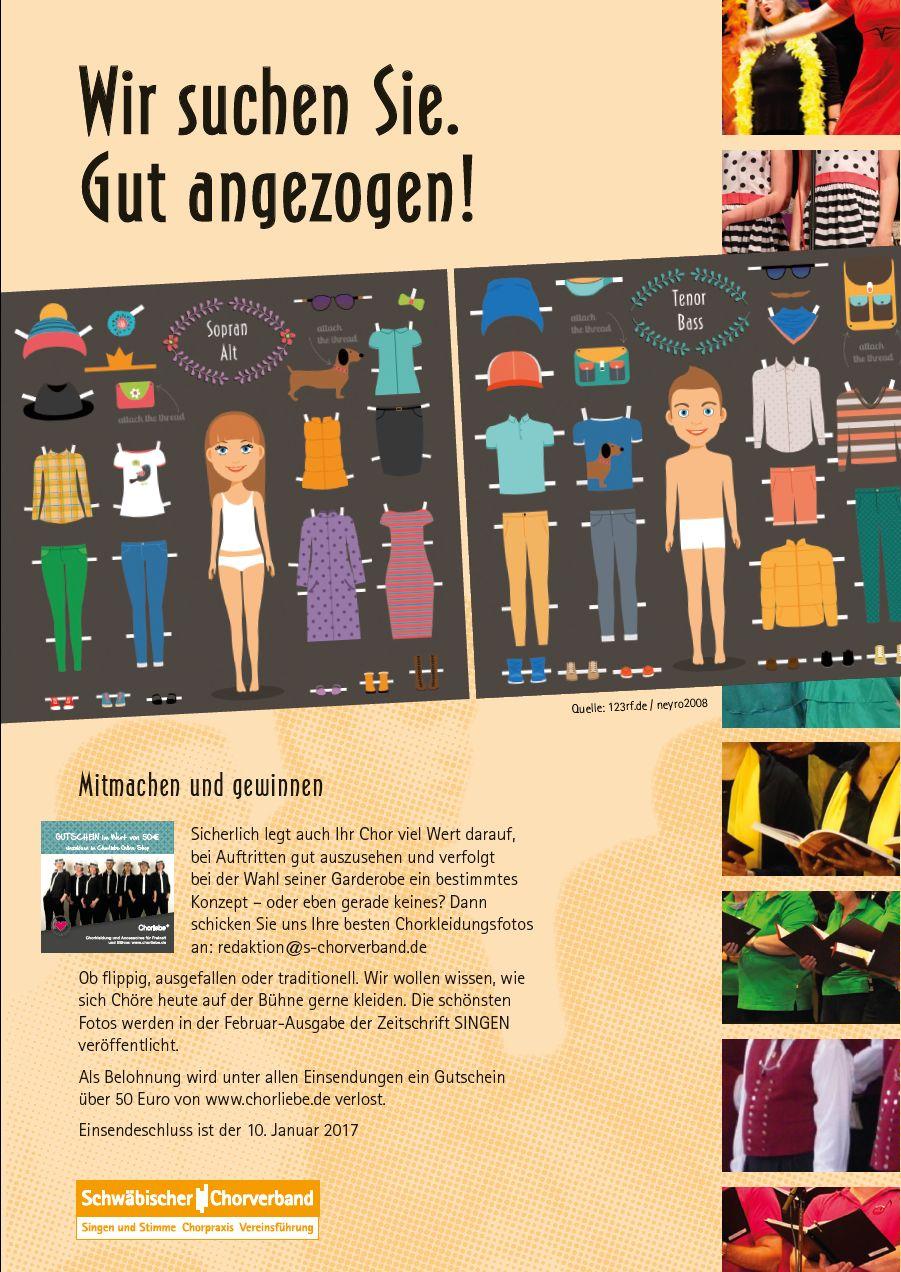 Gelungene Chorkleidung für Zeitschrift SINGEN gesucht